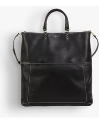 agnès b. - Black Topstitched Leather Bag - Lyst
