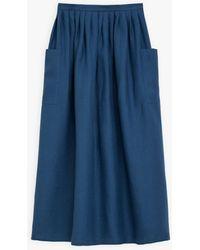 agnès b. Blue Linen Telma Long Skirt
