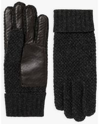 agnès b. - Dark Grey Leon Gloves In Wool And Lamb Leather - Lyst