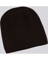 Agnes B. | Brown Audrey Beanie Hat In Ribbed Cashmere Knit | Lyst