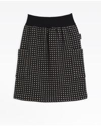 agnès b. Black Polka Dot Woollen Skirt