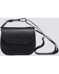 agnès b. - Black Leather And Canvas Shoulder Bag - Lyst
