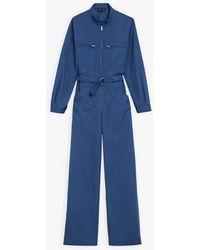 agnès b. Blue Cotton Percale Jumpsuit