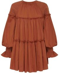 Aje. Tranquility Smock Dress - Brown