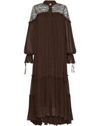 Aje. Veil Smock Lace Dress - Brown