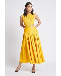 Aje. Cascade Cut Out Dress - Yellow