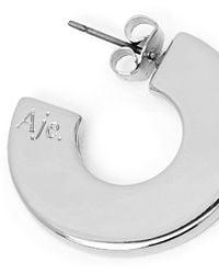 Aje. The Mini Curve Hoops - White