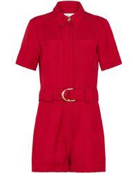 Aje. Paperbark Belted Playsuit - Red
