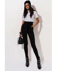 AKIRA Lala High Waist Paper Bag Pants - Black