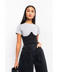 AKIRA - Can You Handle Me Denim Corset Knit Top - Lyst
