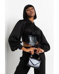 AKIRA On The Run Long Sleeve Corset Crop Top - Black