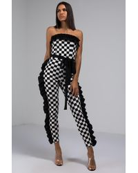 AKIRA - Dont Forget Strapless Checkered Jumpsuit - Lyst