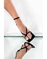 AKIRA Thinking Of Me Ankle Strap Heeled Sandal - Black