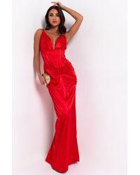 AKIRA Make You Work For It Sleeveless Formal Maxi Dress - Red