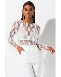 AKIRA Feelin Right Mesh Fringe Top - White