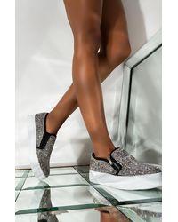 AKIRA Stay Local Rhinestone Sneaker - Black