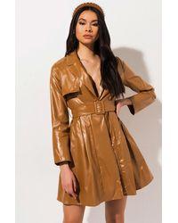 AKIRA So Sly Vegan Leather Trench Coat - Brown