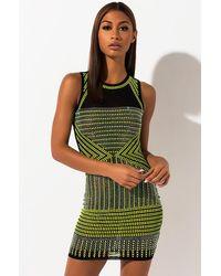 AKIRA Bright Lights Big City Studded Mini Dress - Green