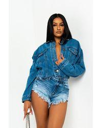 AKIRA On The Dock Cropped Boxy Denim Jacket - Blue