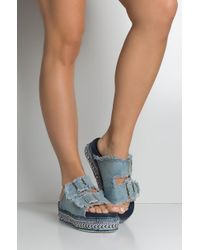 AKIRA - Britney & Justin Denim Flatform Sandals - Lyst