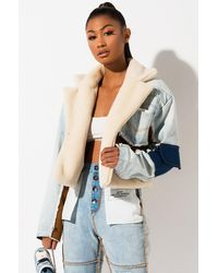 AKIRA Makin It Blend Denim Shearling Crop Jacket - Blue