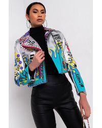 AKIRA Azalea Wang Phoenix Rising Moto Patch Jacket - Metallic