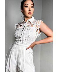 AKIRA Different World Eyelet Jumpsuit - White