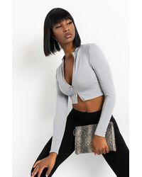 PAXTON Ultra Seamless Long Sleeve Front Zipper Top - Grey
