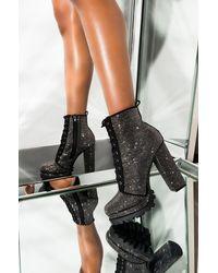 AKIRA Fake Love Rhinestone Chunky Heel Platform Bootie - Black