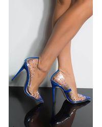 AKIRA High For This Bling Stiletto Pump - Blue
