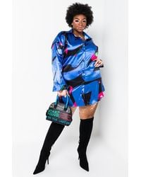 AKIRA Plus Abstract Print Satin Shirt Dress - Purple