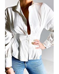AKIRA In The Wind Button Down Blouse - White