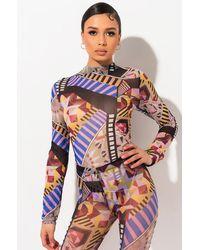 AKIRA All Over Geometric Print Long Sleeve Mesh Bodysuit - Multicolor