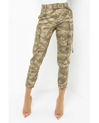 AKIRA It Might Be Time Fashion Cargo Trousers - Green