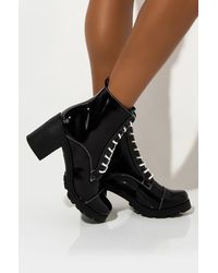 AKIRA Alone With You Lace Up Chunky Heel Bootie - Black