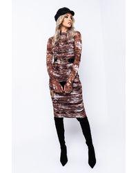 AKIRA Feel Seen Ruched Mesh Midi Dress - Brown