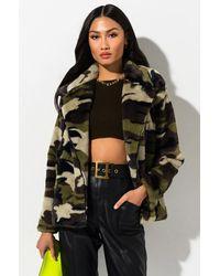 AKIRA Army Life Faux Fur Jacket - Green