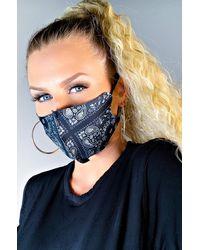 AKIRA Big Love Bandana Print Fashion Face Cover - Black