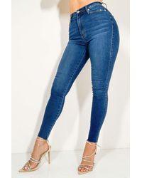 AKIRA Dreaming Again High Waist Skinny Denim Jeans - Blue
