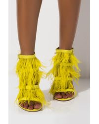 Cape Robbin Throw It In The Bag Feather Stiletto Sandal - Yellow