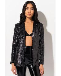 AKIRA Sequin Night Blazer - Black