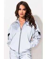 AKIRA Adidas Womens Reflective Track Jacket - Metallic