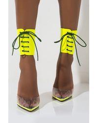 AKIRA Callin Me Baby Lace Up Stiletto Pump - Yellow