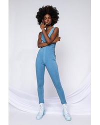 AKIRA Take Your Time Lace Up Denim Jumpsuit - Blue