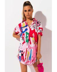 AKIRA - Think Pink Panther Shirt Dress - Lyst