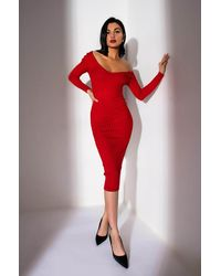 PAXTON Looking Good Feeling Fine Ribbed Knit Midi Dress - Red