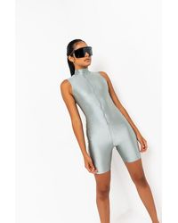 AKIRA Waiting For It Zip Up Sleeveless Bodycon Romper - Grey
