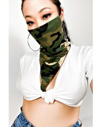 AKIRA Simple And Chic Camo Print Fashion Face And Neck Cover - Green