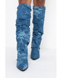 AKIRA Azalea Wang Keep Up With Me Wedge Boot In Denim - Blue