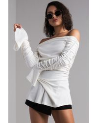 AKIRA - Got Something Here Off Shoulder Ruched Top - Lyst